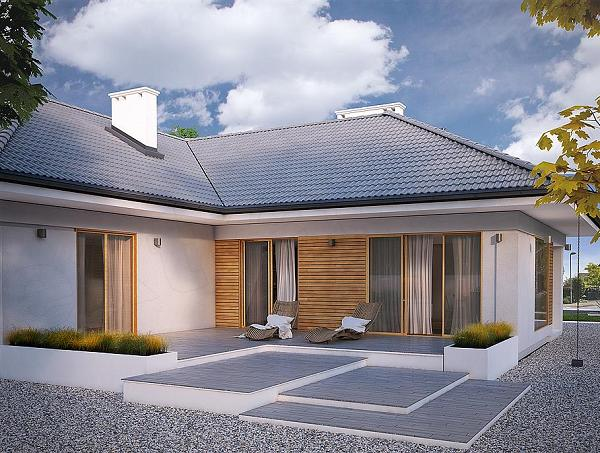 Casa in forma de t fara etaj cu 4 dormitoare si garaj for Case parter 3 camere