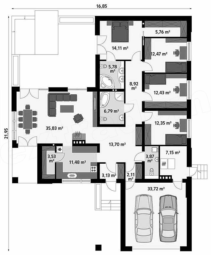 Casa Dormitoare Garaj Proiect Case Mansarda
