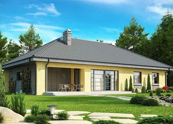 Casa fara etaj cu 3 dormitoare, garaj si acoperis in 4 ape - proiect si imagini din interior si exterior