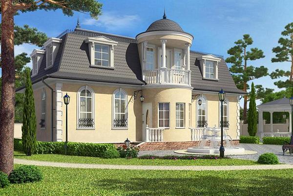 Proiect de casa cu mansarda in stilul arhitecturii clasice. O locuinta eleganta pentru o familie cu copii