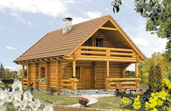 Proiect de casa de vacanta cu 2 dormitoare - o constructie din busteni, simpla si frumoasa