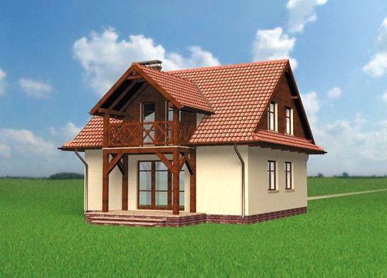 Proiect de casa cu balcon din lemn lucarna si 3 for Modele de balcon din lemn