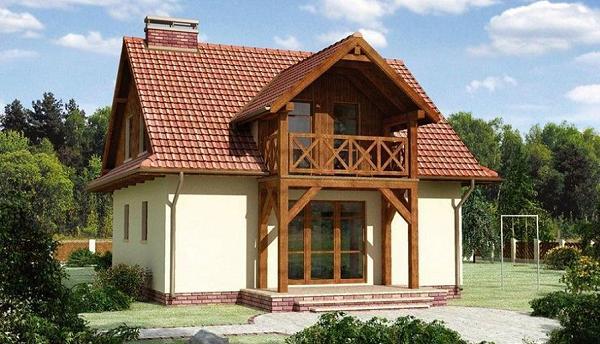 Proiect de casa cu balcon din lemn, lucarna si 3 dormitoare la mansarda