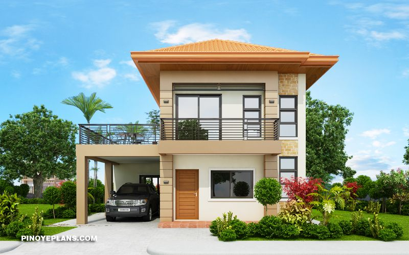 Design modern la o casa cu etaj, garaj, terasa si 3 dormitoare - imagini si proiect 3D