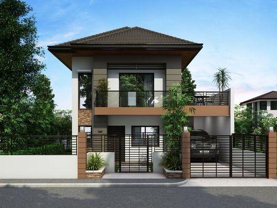 Proiect de casa cu etaj pe un teren ingust - locuinta cu 3 dormitoare, garaj, terasa