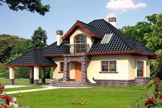 Casa cu mansarda cu lucarna - proiect si imagini. O locuinta frumoasa cu 3 dormitoare