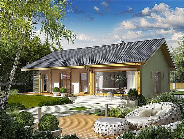 Proiect de casa eficienta energetic cu perete de sticla intre living si terasa