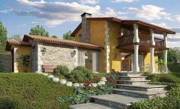 Casa cu garaj, terase si 3 dormitoare construita pe un teren in panta - proiect si imagini