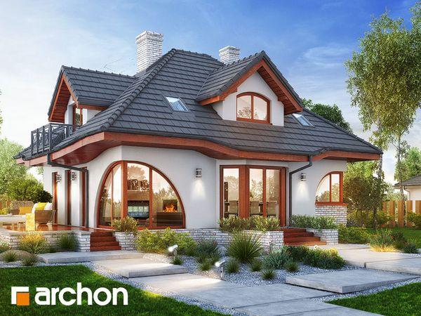 Casa cu ferestre arcuite si fatade atractive decorate cu lemn si caramida - proiect si detalii