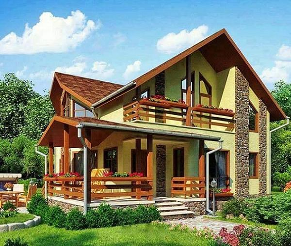 O casa cu fatada galbena si cu zone placate cu piatra, care se remarca prin frumusetea finisajelor din lemn