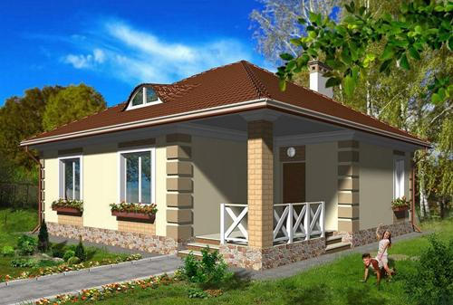 Proiect de casa la tara pe un singur nivel. O locuinta practica cu living, un dormitor si birou