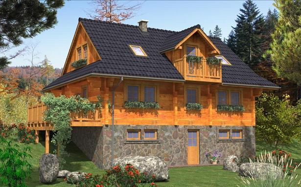 Casa din lemn masiv cu mansarda si demisol din piatra - proiect si imagini