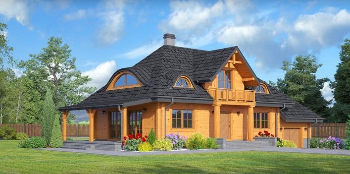Proiect de casa din lemn masiv cu demisol partial, parter si mansarda. Imagini cu o locuinta deosebita