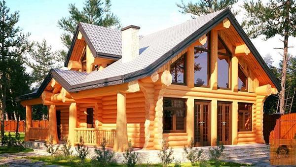 casa din lemn rotund - farmec