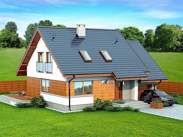 Proiect de casa cu mansarda, cu 2 livinguri, garaj, 3 dormitoare si birou