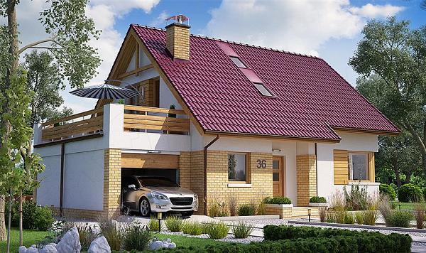 Casa cu mansarda cu 3 dormitoare, birou si garaj - proiect si imagini