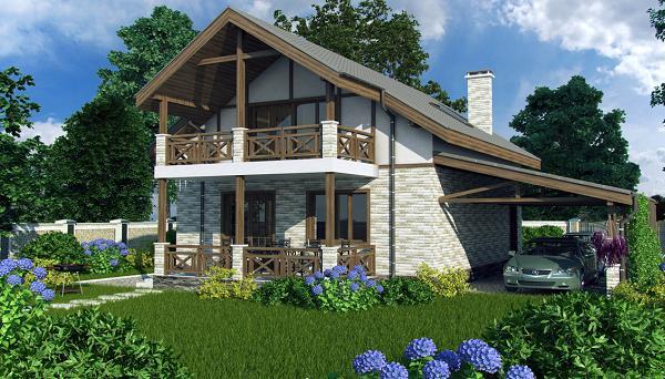 Proiect de casa cu mansarda si 3 terase - variante cu 2 sau 3 dormitoare