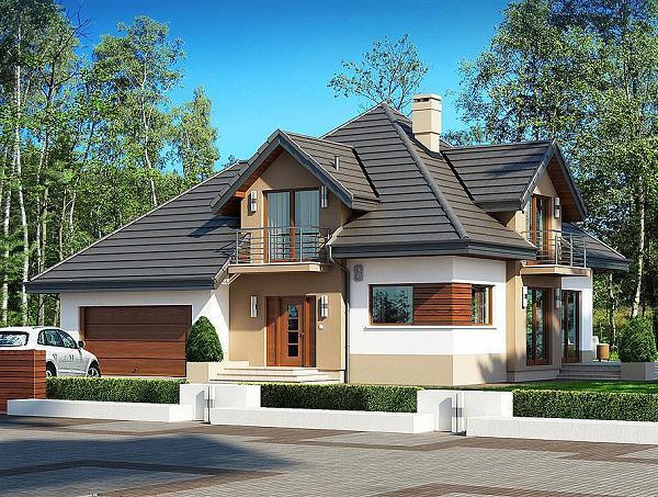 Proiect de casa cu mansarda cu 3 dormitoare, birou si garaj pentru 2 masini
