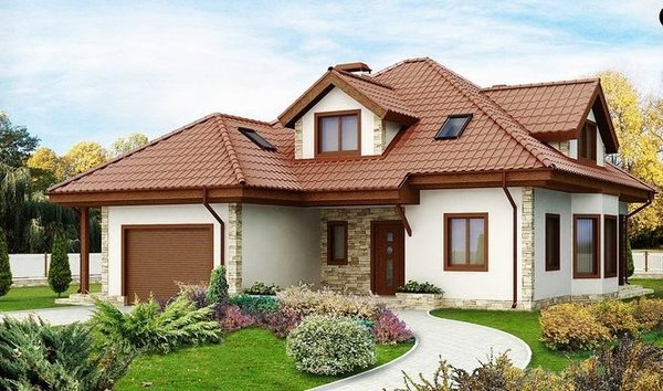 Proiecte de case cu mansarda si garaj. Locuinte placate cu piatra sau lemn