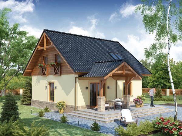Casa frumoasa si practica cu mansarda si terase decorate cu lemn. 3 dormitoare, birou, gradina si garaj optional