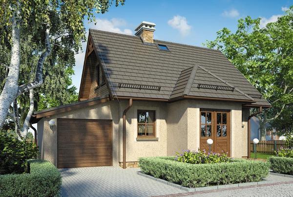 Proiect de casa mica cu garaj si 2 dormitoare la mansarda. O locuinta pentru persoane dinamice