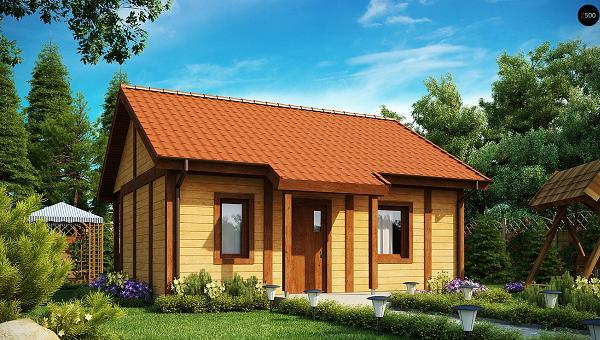 Casa mica din lemn cu living si un dormitor. Proiect si imagini cu interiorul deosebit