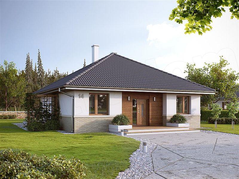 Casa mica fara etaj, stil clasic, 2 dormitoare - proiect si imagini