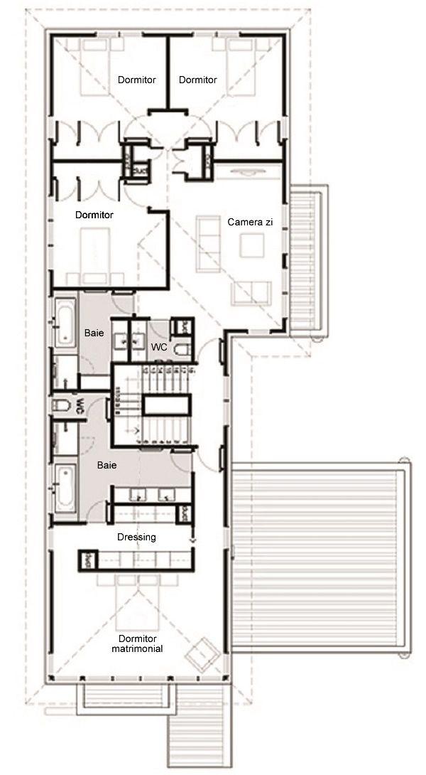 Casa moderna cu etaj 4 dormitoare birou si garaj atasat for Casa moderna romania