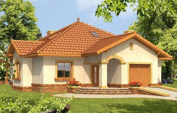 Casa pe un nivel cu garaj, 3 dormitoare si semineu pe terasa - proiect si imagini