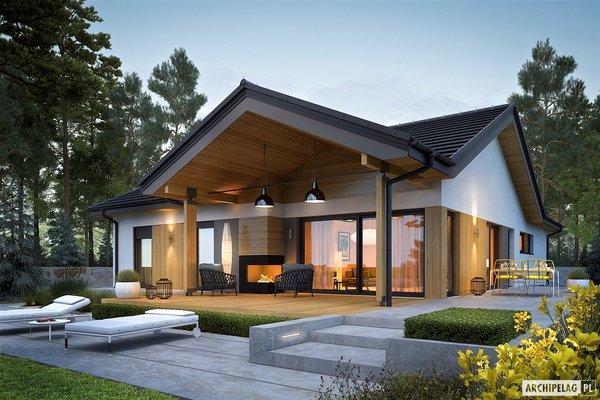 Casa fara etaj cu terasa placata cu lemn - proiect si imagini