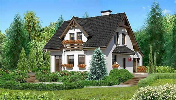 Proiecte de case mici si ieftine, de 120 de metri patrati, cu patru dormitoare si garaj