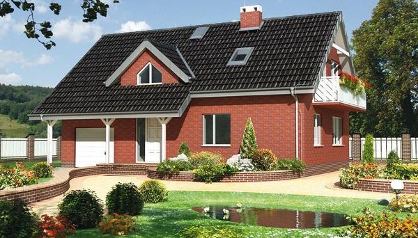 Casa placata cu caramida - proiect si imagini. O casa contemporana cu fatada in stil clasic