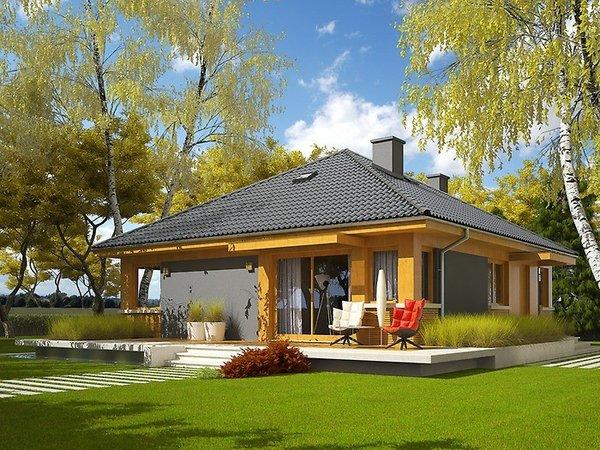 Casa pe un nivel cu fatada placata cu lemn - proiect si imagini