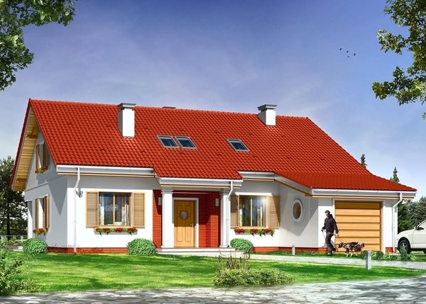 Casa cu 3 dormitoare, garaj si pod mansardabil - proiect si imagini