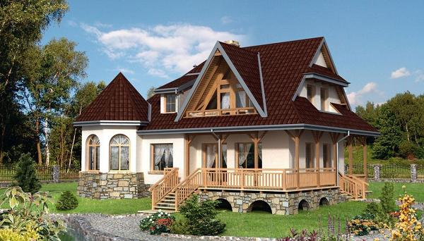 Proiect de casa cu aspect rustic. O locuinta cu prispa si demisol partial, placat cu piatra
