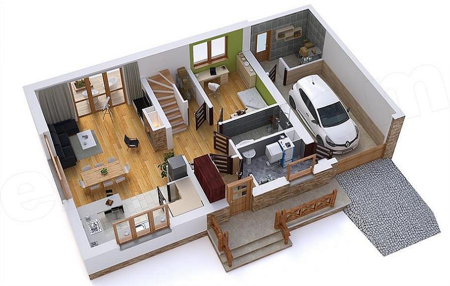 Proiect de casa cu mansarda 4 dormitoare si terasa for Proiecte case cu etaj si terasa