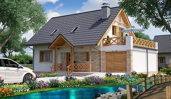 Proiect de casa cu mansarda, 4 dormitoare si terasa amenajata deasupra garajului
