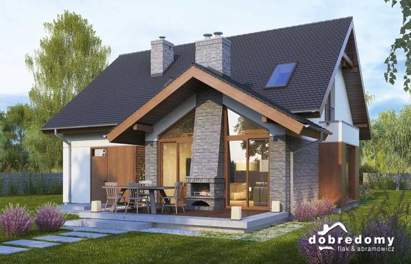 Casa cu mansarda, garaj si terasa cu semineu exterior - proiect si imagini