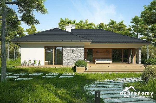 Proiect de casa fara etaj cu terase acoperite garaj dublu for Case cu terase
