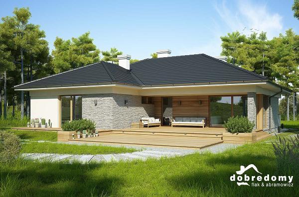 Proiect de casa fara etaj cu terase acoperite, garaj dublu si trei dormitoare