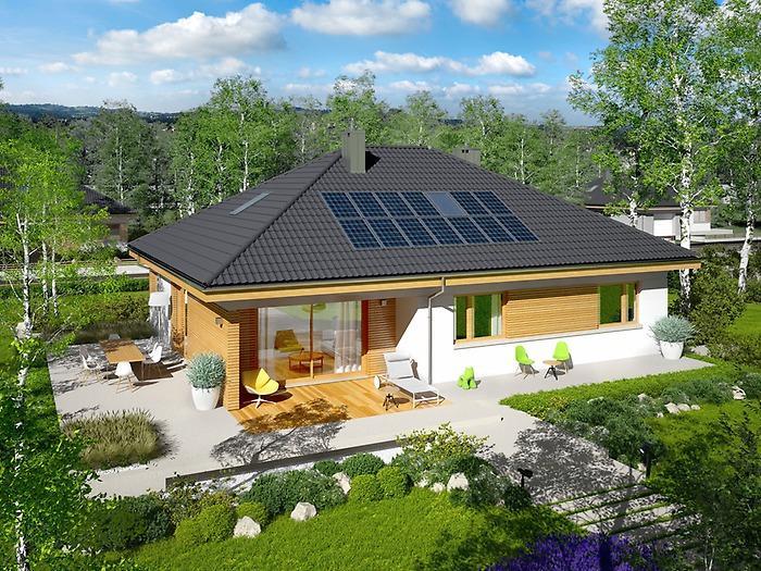 Casa pe un nivel, cu living, 2 dormitoare si garaj. Proiect si imagini cu o locuinta deosebita