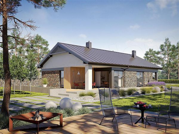Casa confortabila cu un singur nivel, decorata modern cu piatra si lemn - proiect si imagini