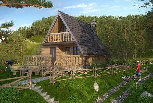 Proiect de casa de vacanta cu 2 dormitoare, construita din cadre si panouri de lemn