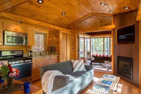 Casa de vacanta din lemn de 36 de metri patrati, living