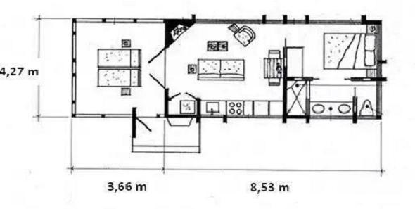 Casa de vacanta din lemn de 36 de metri patrati, veranda