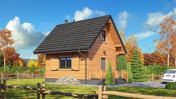 Casa de vacanta ieftina cu 2 dormitoare construita din lemn masiv - proiect si imagini