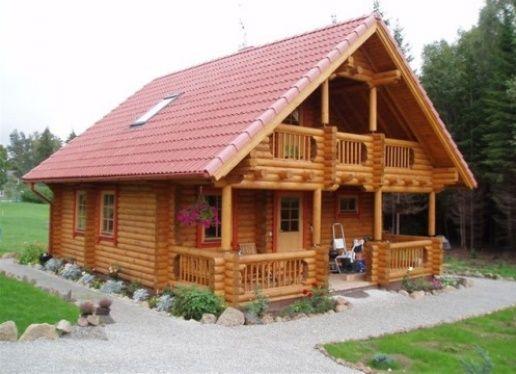 Casa de vacanta din lemn rotund cu 2 dormitoare, prispa, balcon si sauna - proiect si imagini