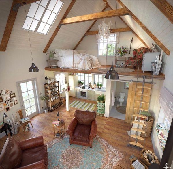 Interior clasic cu dormitor etajat