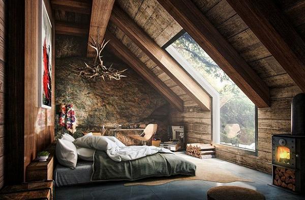 Dormitor amenajat la mansarda