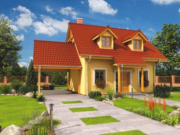 Casa mica pe 56 mp avand insa 3 dormitoare, piscina si pavilion pentru masina - proiect si imagini